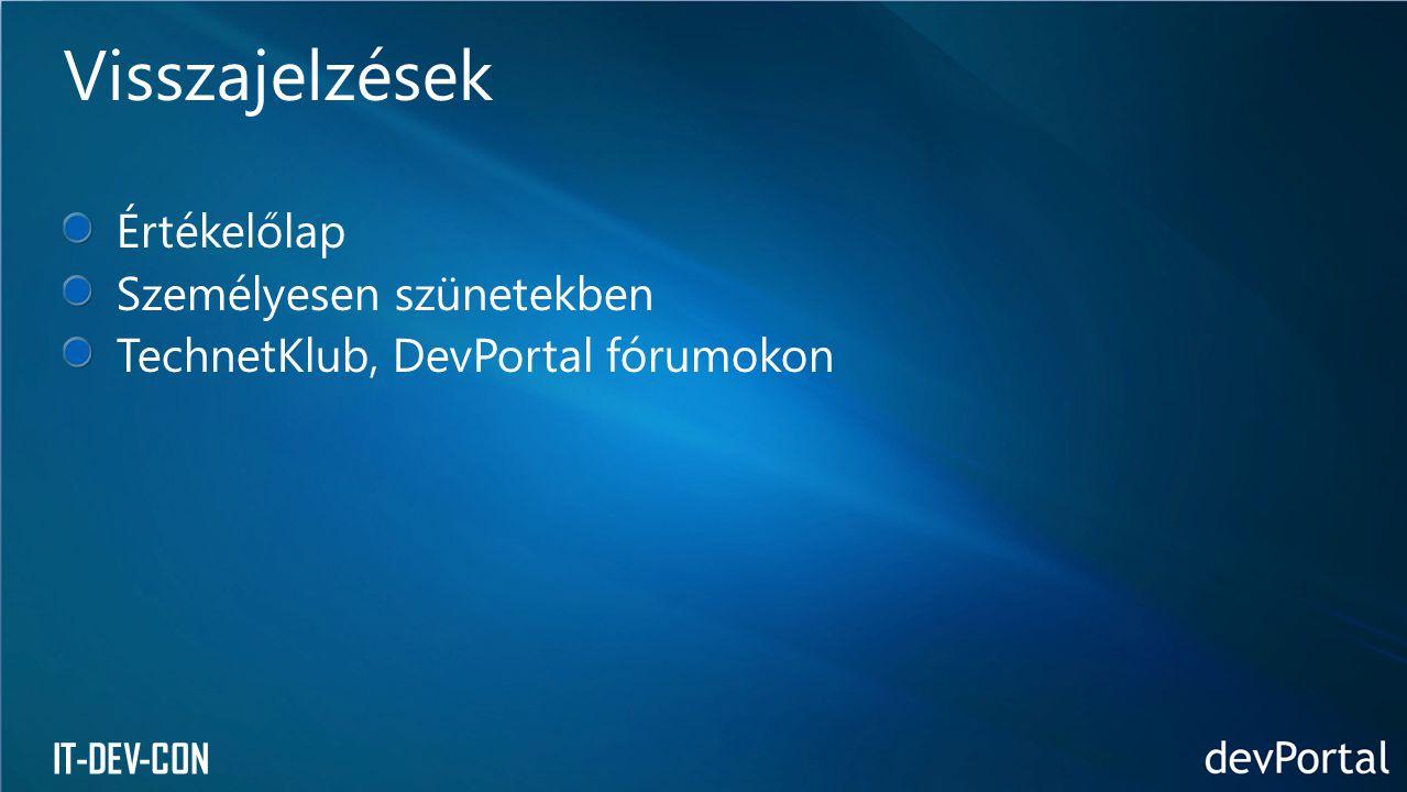 IT-DEV-CON Értékelőlap Személyesen szünetekben TechnetKlub, DevPortal fórumokon Visszajelzések