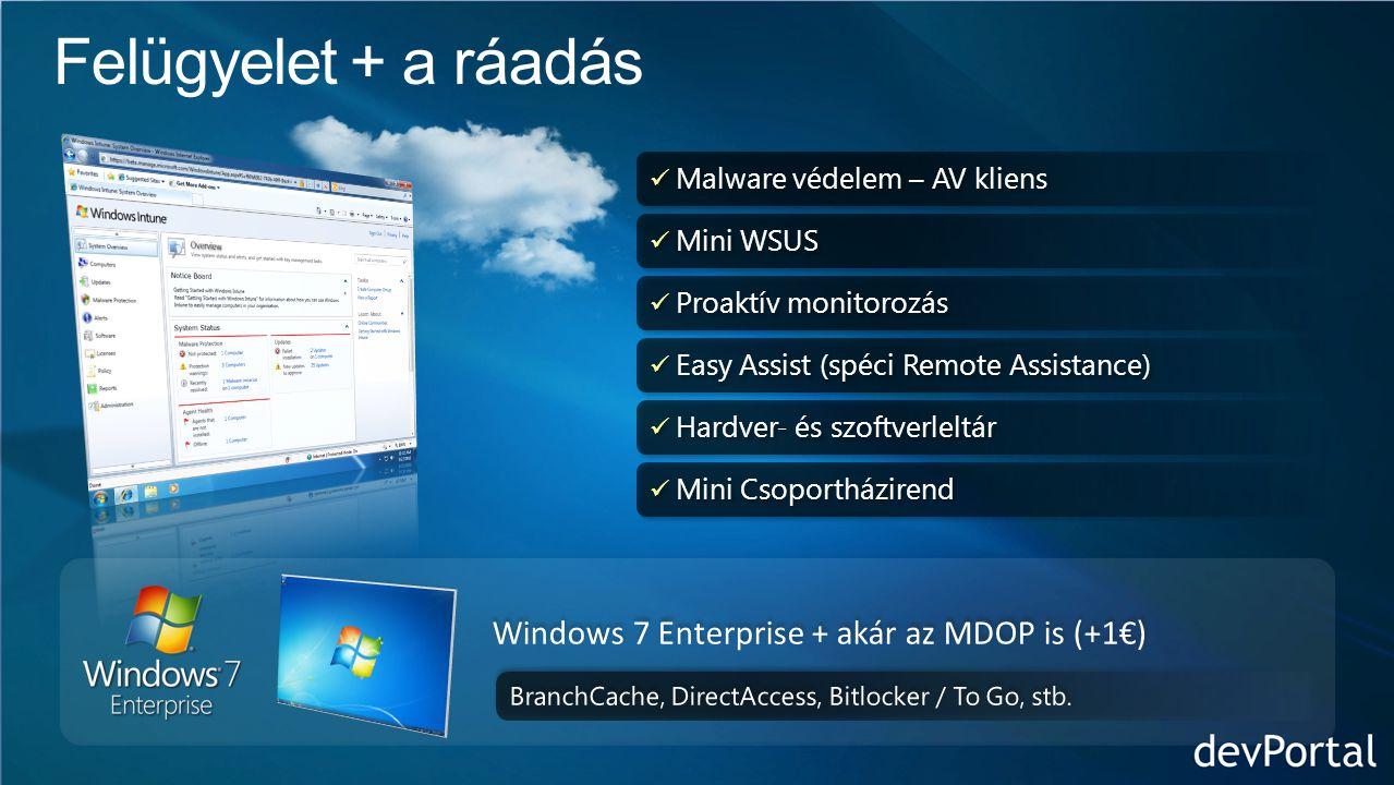  Malware védelem – AV kliens  Mini WSUS  Proaktív monitorozás  Easy Assist (spéci Remote Assistance)  Hardver- és szoftverleltár  Mini Csoportházirend