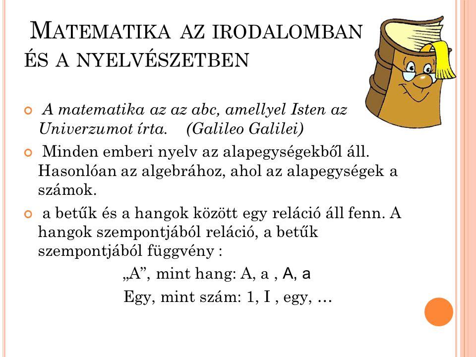 M ATEMATIKA AZ IRODALOMBAN ÉS A NYELVÉSZETBEN A matematika az az abc, amellyel Isten az Univerzumot írta. (Galileo Galilei) Minden emberi nyelv az ala