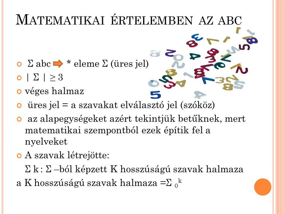 Σ abc * eleme Σ (üres jel) | Σ | ≥ 3 véges halmaz üres jel = a szavakat elválasztó jel (szóköz) az alapegységeket azért tekintjük betűknek, mert matem