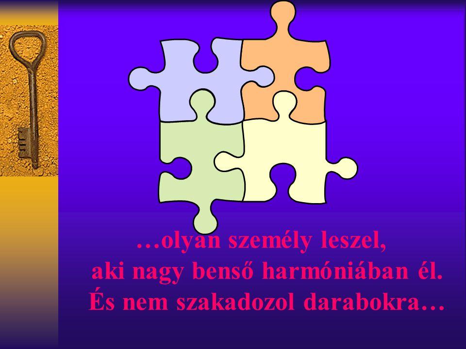 …olyan személy leszel, aki nagy benső harmóniában él. És nem szakadozol darabokra…
