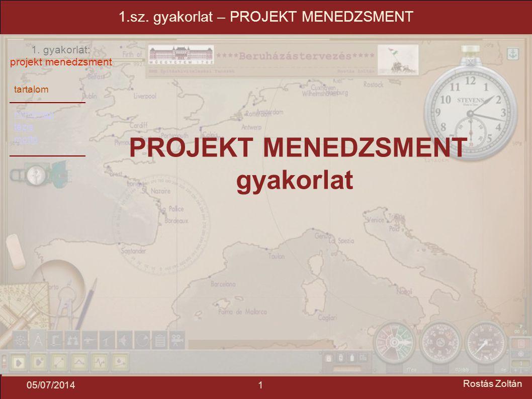 tartalom mindmap tézis mottó 1. gyakorlat: projekt menedzsment 105/07/2014 Rostás Zoltán 1.sz. gyakorlat – PROJEKT MENEDZSMENT PROJEKT MENEDZSMENT gya