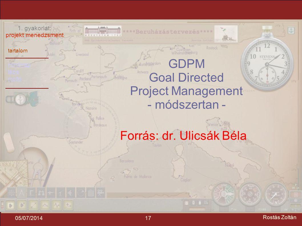 tartalom mindmap tézis mottó 1. gyakorlat: projekt menedzsment 1705/07/2014 Rostás Zoltán GDPM Goal Directed Project Management - módszertan - Forrás: