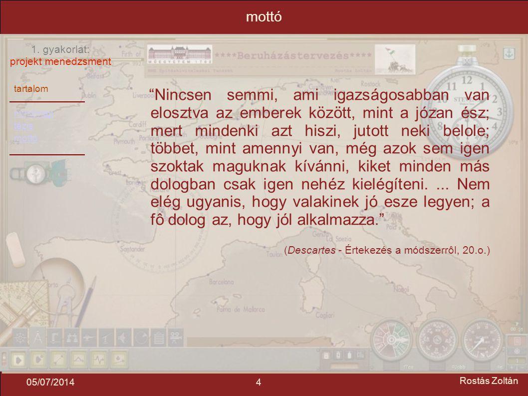 """tartalom mindmap tézis mottó 1. gyakorlat: projekt menedzsment 405/07/2014 Rostás Zoltán mottó """"Nincsen semmi, ami igazságosabban van elosztva az embe"""