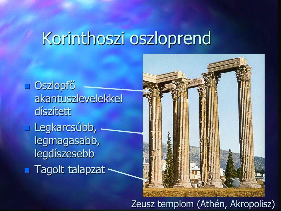 n Oszlopfő akantuszlevelekkel díszített n Legkarcsúbb, legmagasabb, legdíszesebb n Tagolt talapzat Korinthoszi oszloprend Zeusz templom (Athén, Akropolisz)