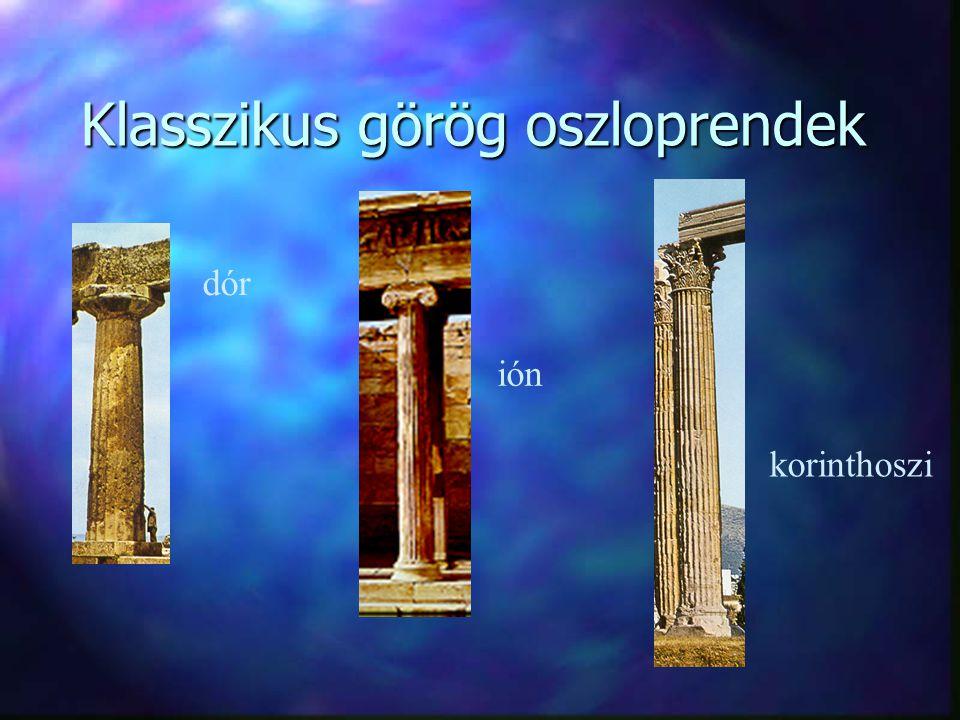 Klasszikus görög oszloprendek korinthoszi ión dór