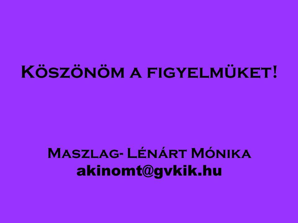 Köszönöm a figyelmüket! Maszlag- Lénárt Mónika akinomt@gvkik.hu