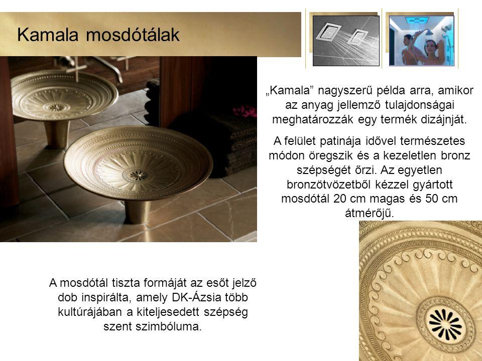"""Kamala mosdótálak """"Kamala nagyszerű példa arra, amikor az anyag jellemző tulajdonságai meghatározzák egy termék dizájnját."""