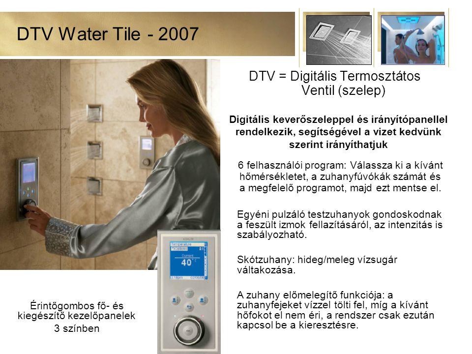 DTV Water Tile - 2007 DTV = Digitális Termosztátos Ventil (szelep) 6 felhasználói program: Válassza ki a kívánt hőmérsékletet, a zuhanyfúvókák számát és a megfelelő programot, majd ezt mentse el.