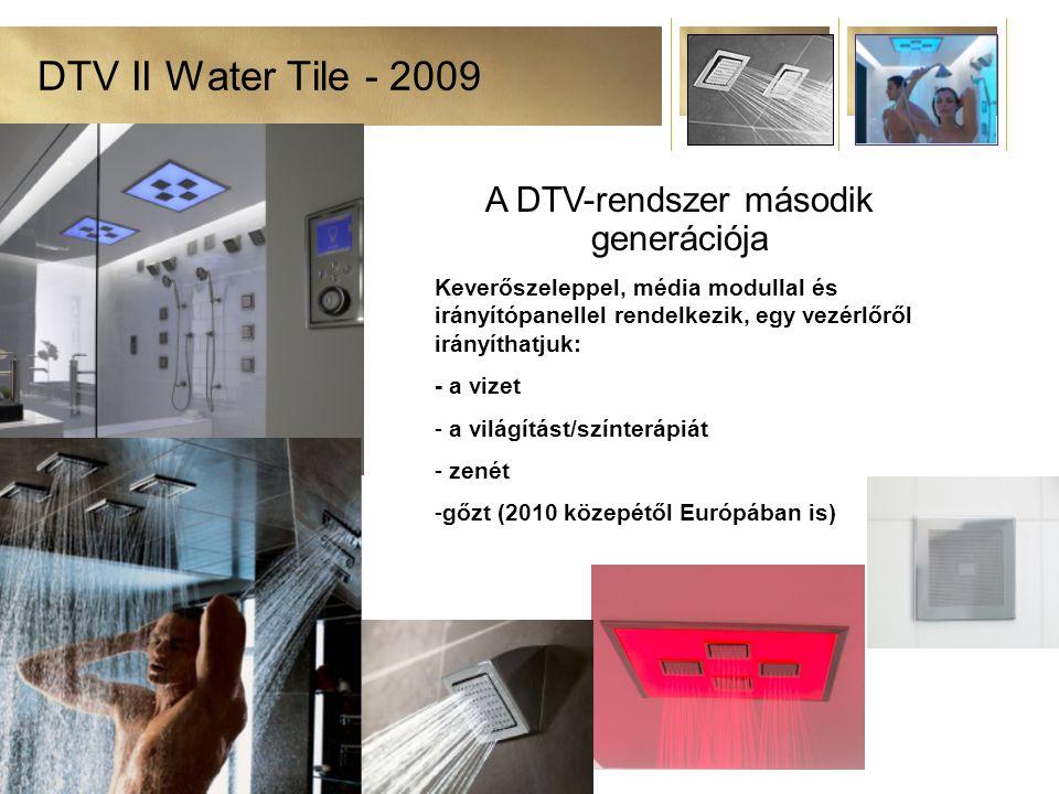 DTV II Water Tile - 2009 A DTV-rendszer második generációja Keverőszeleppel, média modullal és irányítópanellel rendelkezik, egy vezérlőről irányíthatjuk: - a vizet - a világítást/színterápiát - zenét -gőzt (2010 közepétől Európában is)