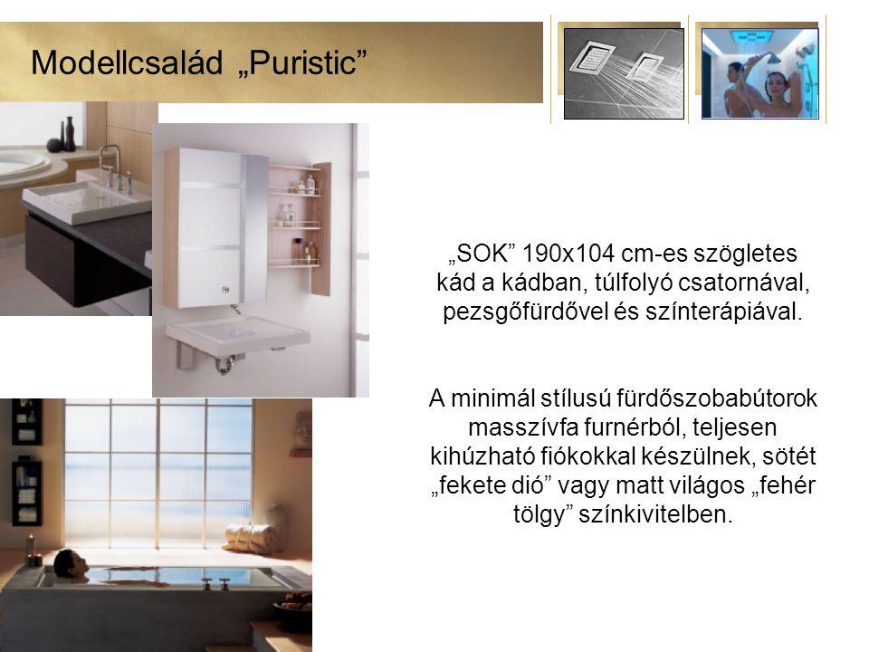 """Modellcsalád """"Puristic """"SOK 190x104 cm-es szögletes kád a kádban, túlfolyó csatornával, pezsgőfürdővel és színterápiával."""
