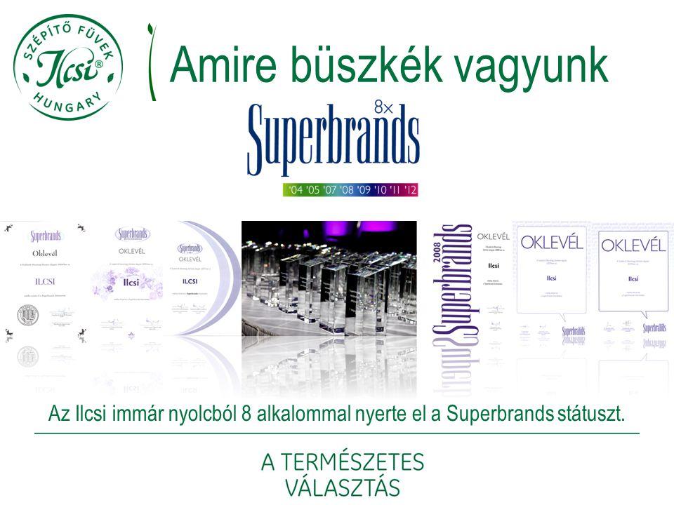 Az Ilcsi immár nyolcból 8 alkalommal nyerte el a Superbrands státuszt. Amire büszkék vagyunk