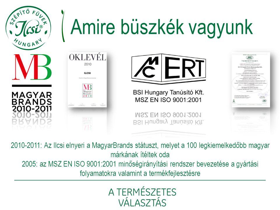 2010-2011: Az Ilcsi elnyeri a MagyarBrands státuszt, melyet a 100 legkiemelkedőbb magyar márkának ítéltek oda 2005: az MSZ EN ISO 9001:2001 minőségirá
