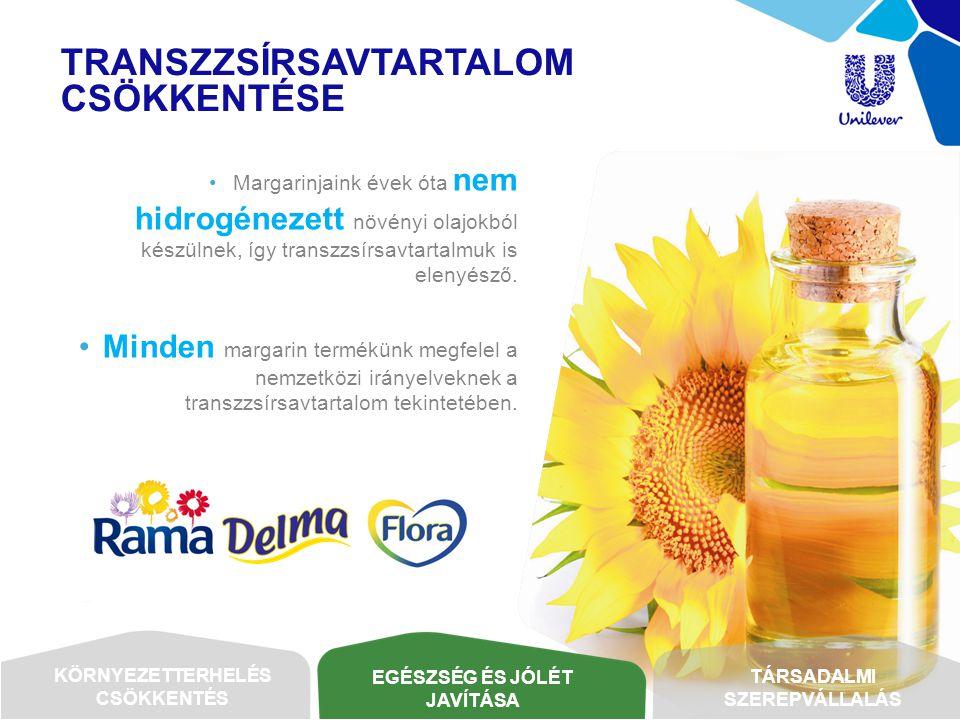 TRANSZZSÍRSAVTARTALOM CSÖKKENTÉSE •Margarinjaink évek óta nem hidrogénezett növényi olajokból készülnek, így transzzsírsavtartalmuk is elenyésző. •Min