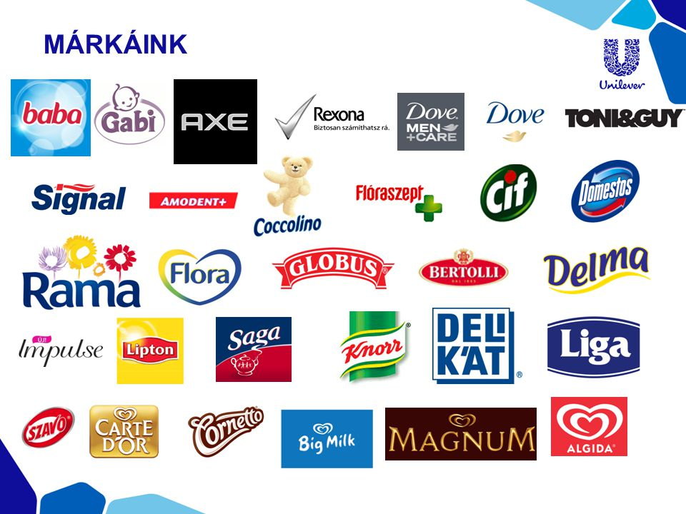 NAGYCSALÁDOSOK TÁMOGATÁSA •Együttműködés a Nagycsaládosok Egyesületével •Több mint 2,7 millió forint az Egyesületnek 2013-ban •Közös akció a Coop lánccal: minden Coop üzletben eladott Unilever termék után az Unilever egy forintot ajánlott fel az Egyesület számára TÁRSADALMI SZEREPVÁLLALÁS KÖRNYEZETTERHELÉS CSÖKKENTÉS EGÉSZSÉG ÉS JÓLÉT JAVÍTÁSA