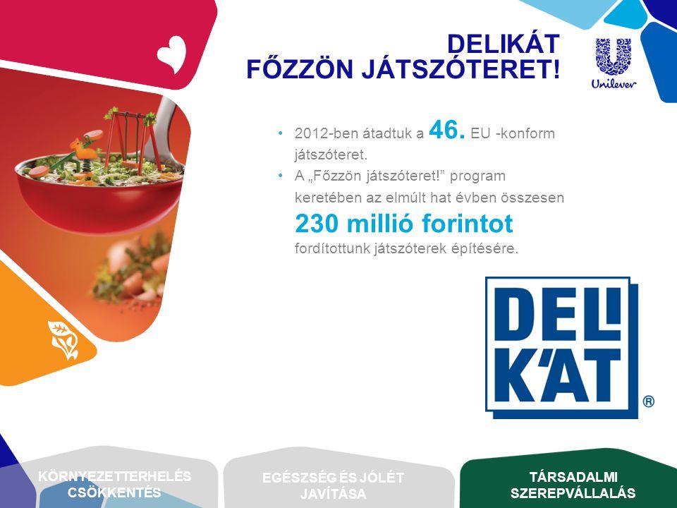 """•2012-ben átadtuk a 46. EU -konform játszóteret. •A """"Főzzön játszóteret!"""" program keretében az elmúlt hat évben összesen 230 millió forintot fordított"""