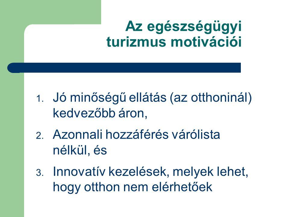 Az egészségügyi turizmus motivációi 1. Jó minőségű ellátás (az otthoninál) kedvezőbb áron, 2.