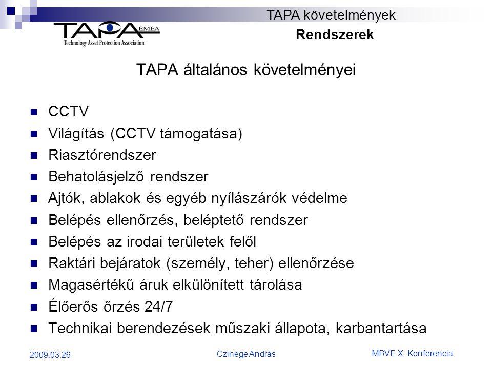 MBVE X. Konferencia Czinege András 2009.03.26 TAPA követelmények Rendszerek TAPA általános követelményei  CCTV  Világítás (CCTV támogatása)  Riaszt