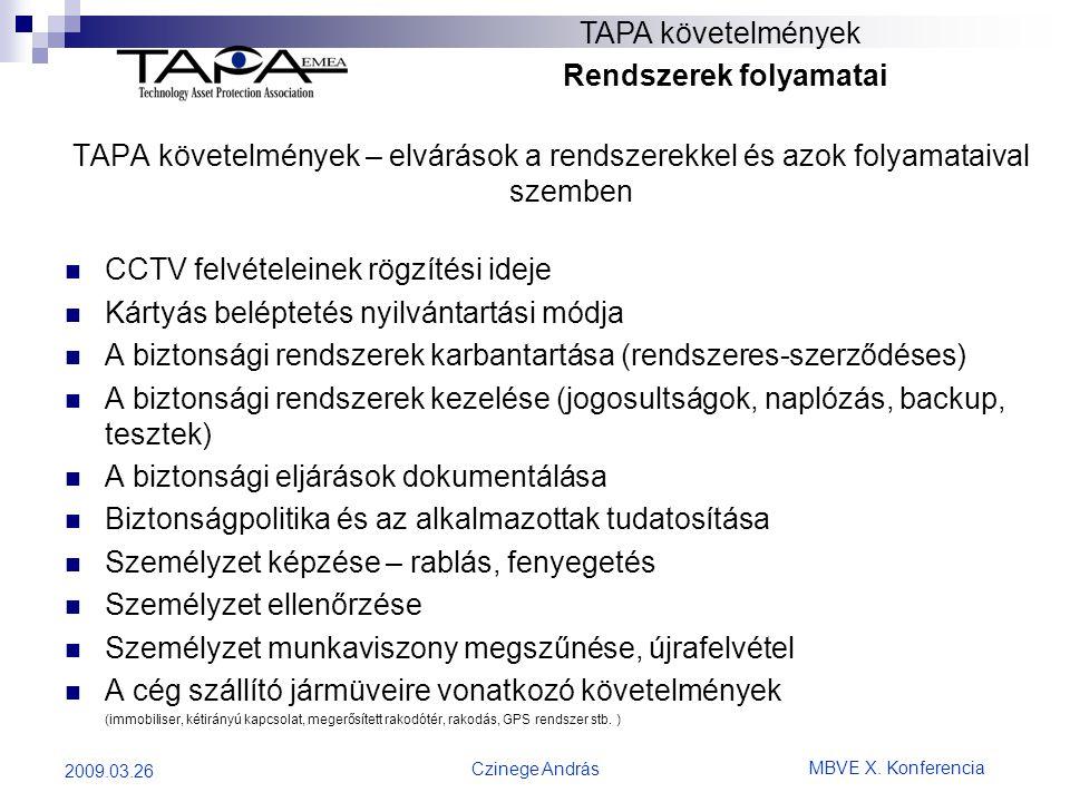 MBVE X. Konferencia Czinege András 2009.03.26 TAPA követelmények Rendszerek folyamatai TAPA követelmények – elvárások a rendszerekkel és azok folyamat