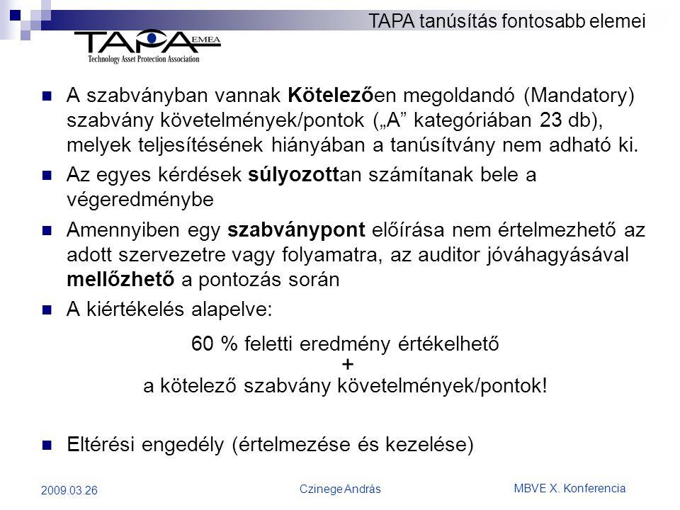 """MBVE X. Konferencia Czinege András 2009.03.26  A szabványban vannak Kötelezően megoldandó (Mandatory) szabvány követelmények/pontok (""""A"""" kategóriában"""