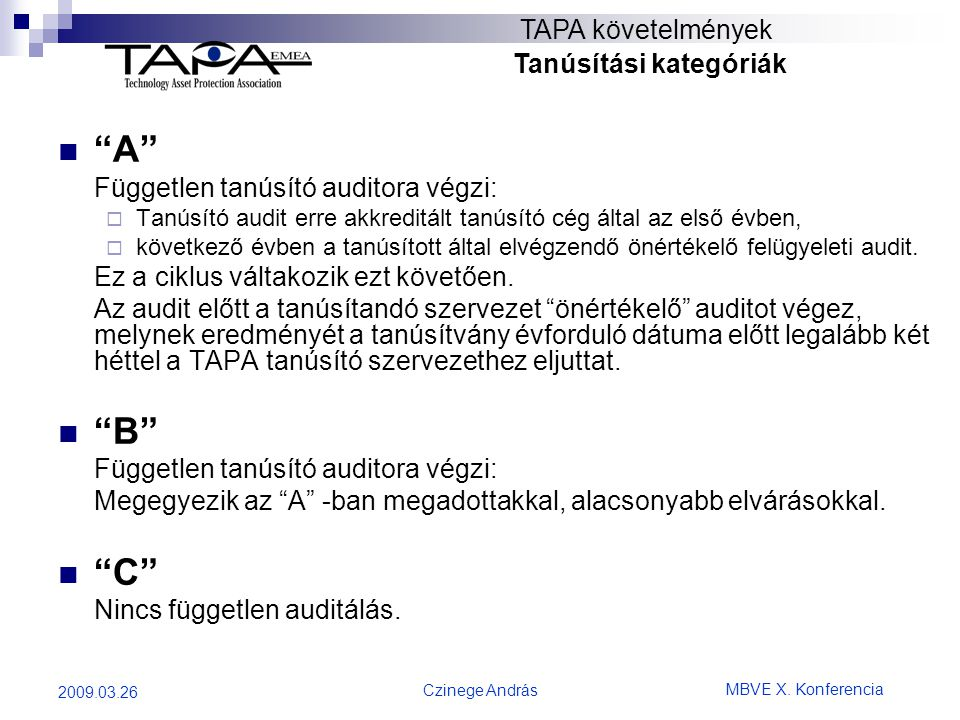 """MBVE X. Konferencia Czinege András 2009.03.26 TAPA követelmények Tanúsítási kategóriák  """"A"""" Független tanúsító auditora végzi:  Tanúsító audit erre"""