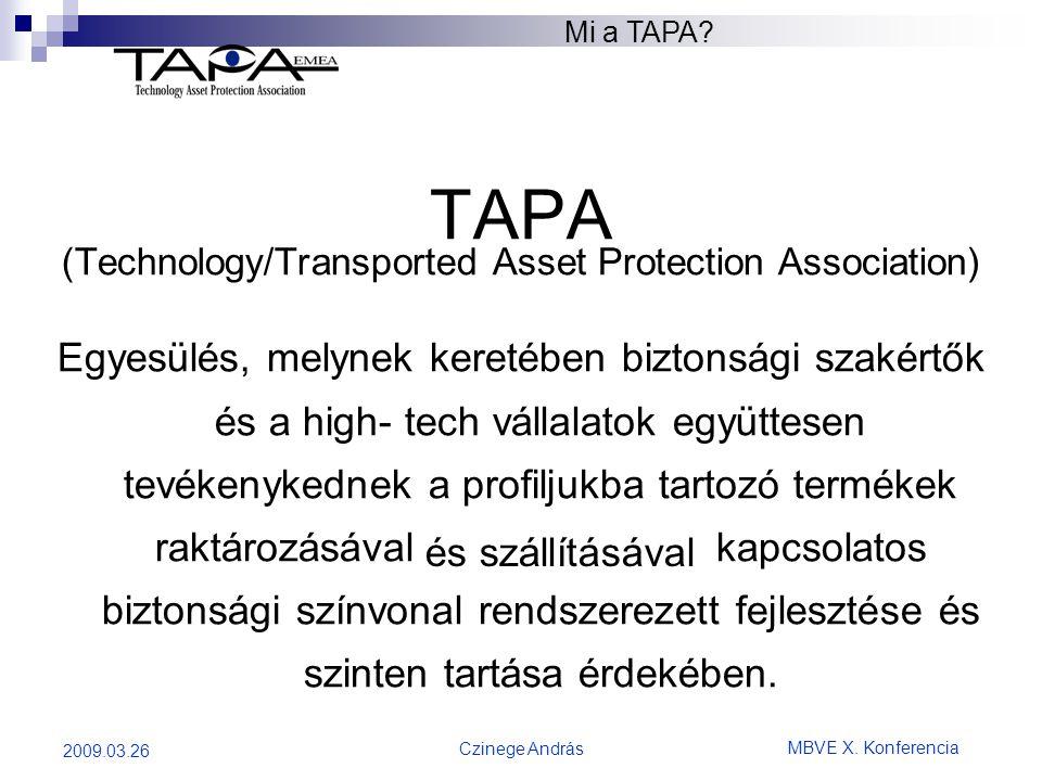 MBVE X. Konferencia Czinege András 2009.03.26 TAPA (Technology/Transported Asset Protection Association) Egyesülés, melynek keretében biztonsági szaké