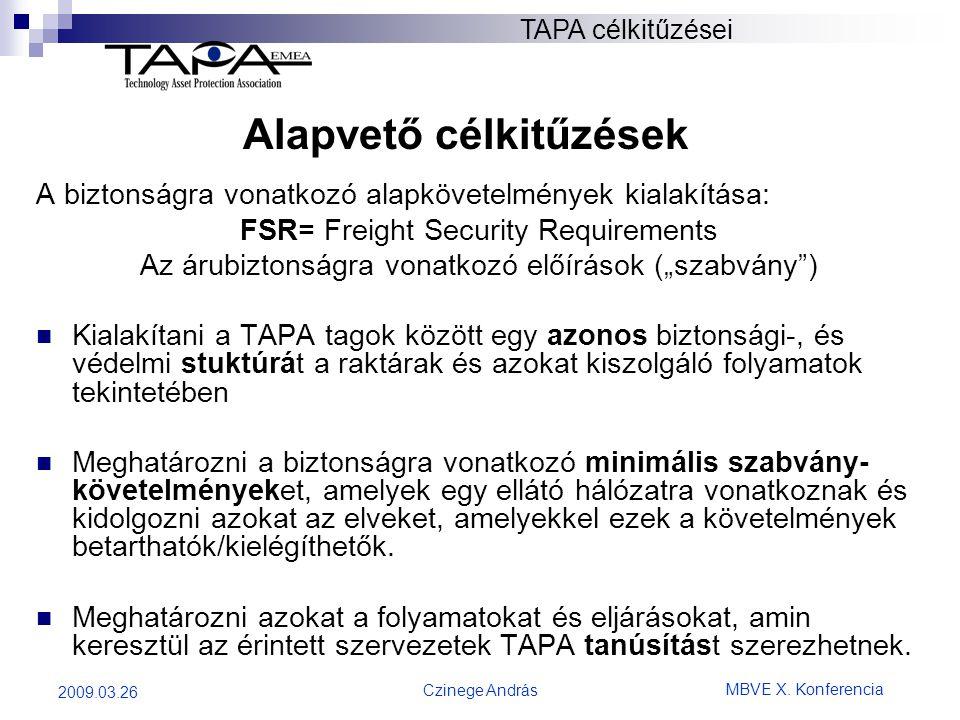 MBVE X. Konferencia Czinege András 2009.03.26 A biztonságra vonatkozó alapkövetelmények kialakítása: FSR= Freight Security Requirements Az árubiztonsá