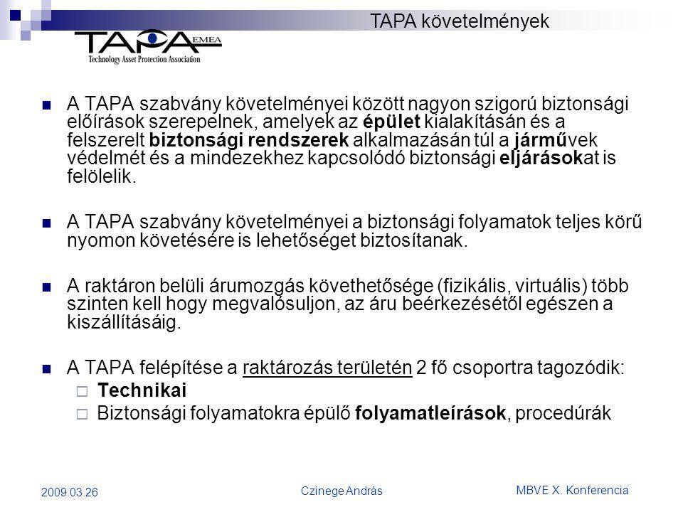MBVE X. Konferencia Czinege András 2009.03.26  A TAPA szabvány követelményei között nagyon szigorú biztonsági előírások szerepelnek, amelyek az épüle