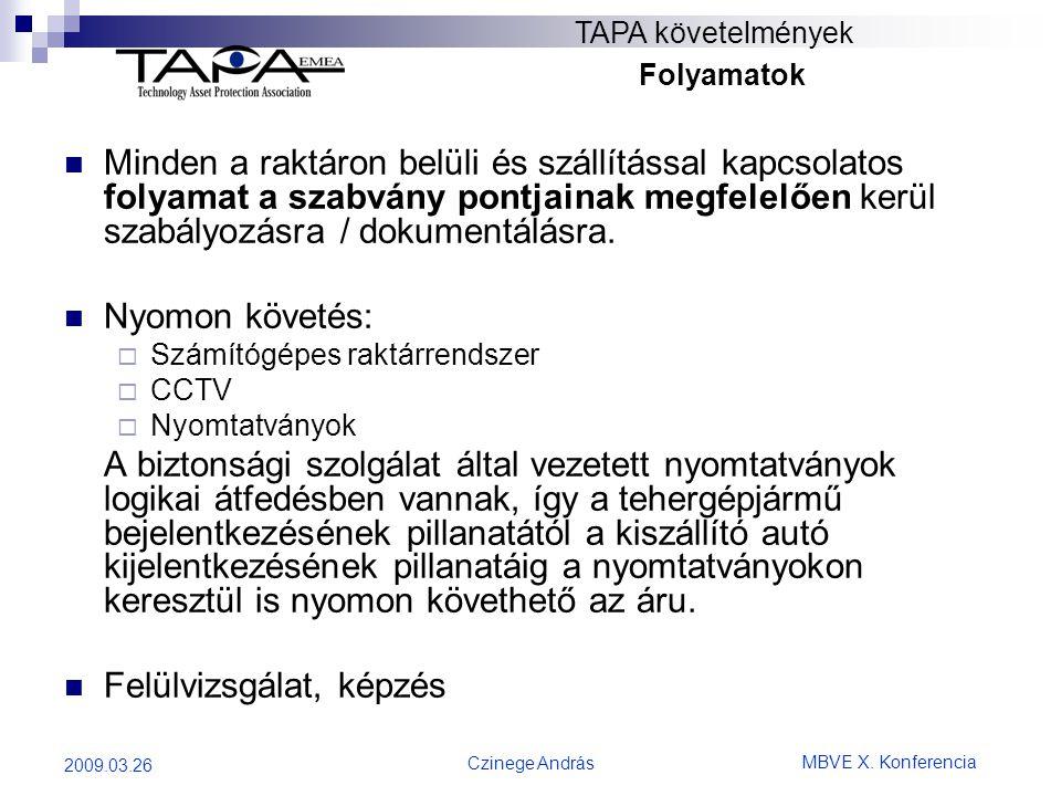MBVE X. Konferencia Czinege András 2009.03.26 TAPA követelmények Folyamatok  Minden a raktáron belüli és szállítással kapcsolatos folyamat a szabvány