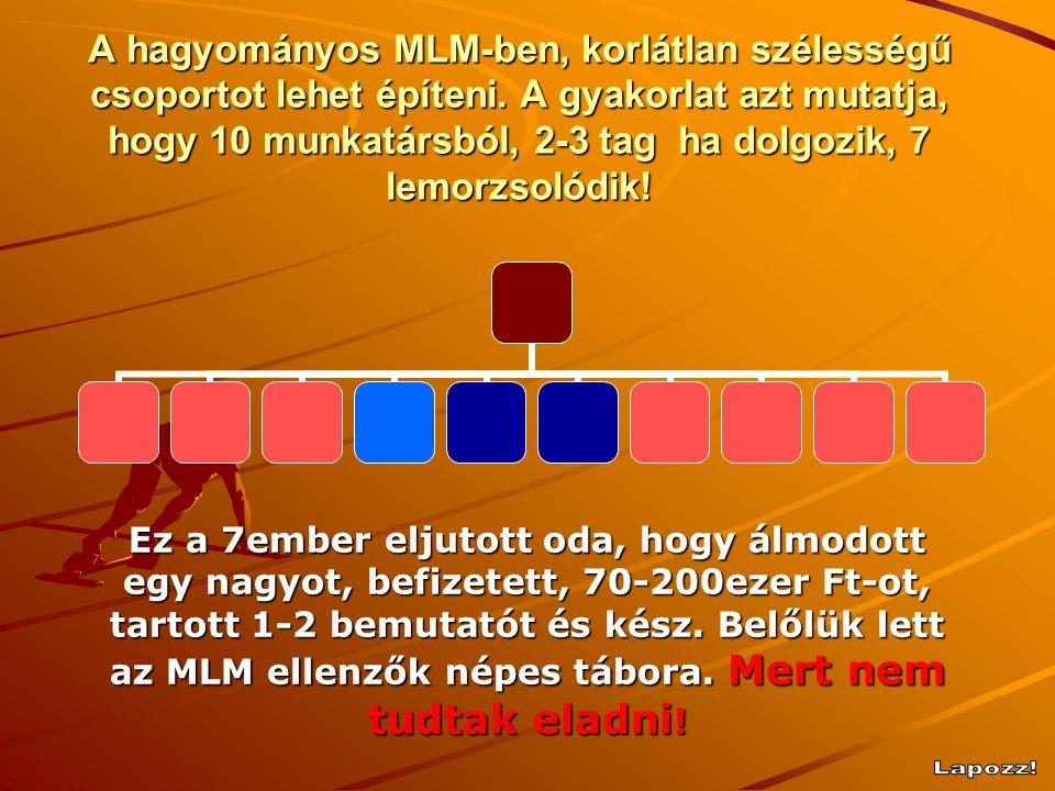 A hagyományos MLM-ben, korlátlan szélességű csoportot lehet építeni.