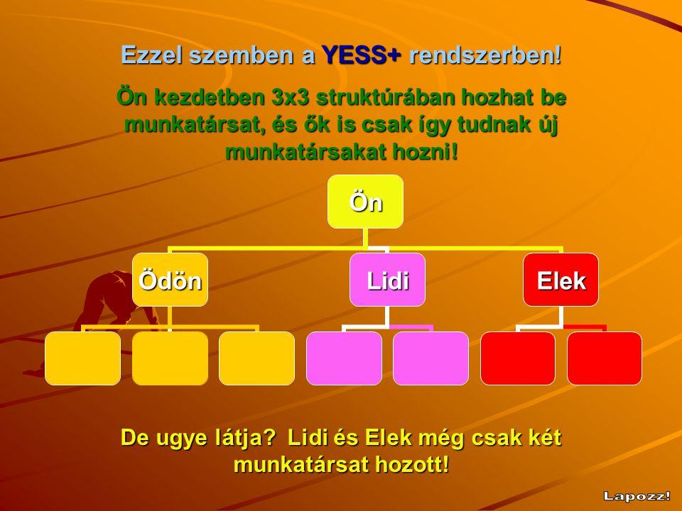 Ön ÖdönLidiElek Ezzel szemben a YESS+ rendszerben! Ön kezdetben 3x3 struktúrában hozhat be munkatársat, és ők is csak így tudnak új munkatársakat hozn