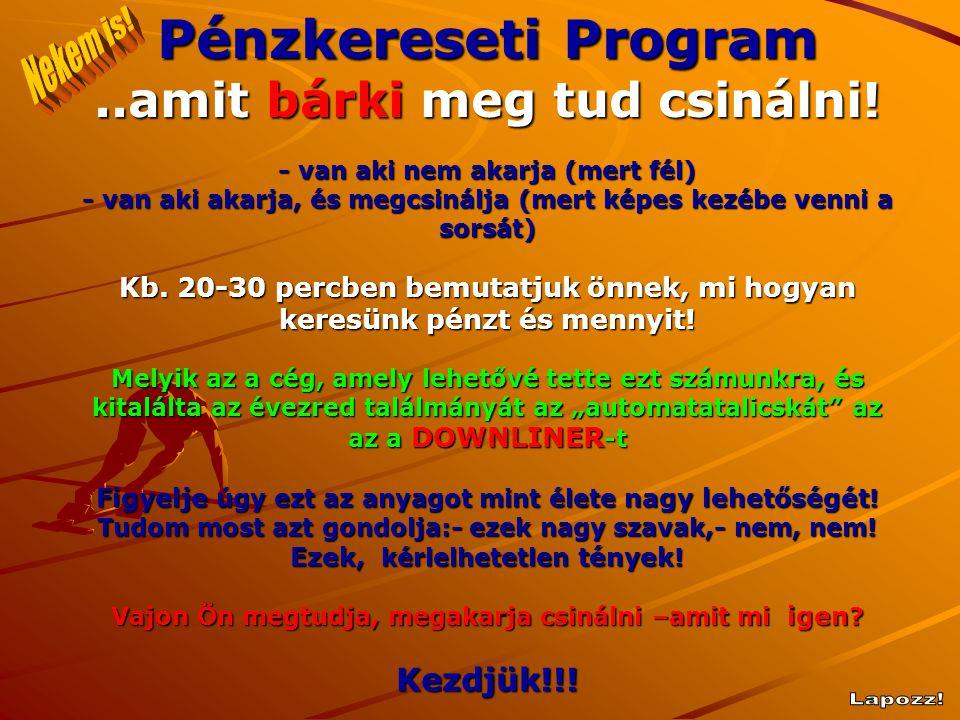Pénzkereseti Program..amit bárki meg tud csinálni! - van aki nem akarja (mert fél) - van aki akarja, és megcsinálja (mert képes kezébe venni a sorsát)