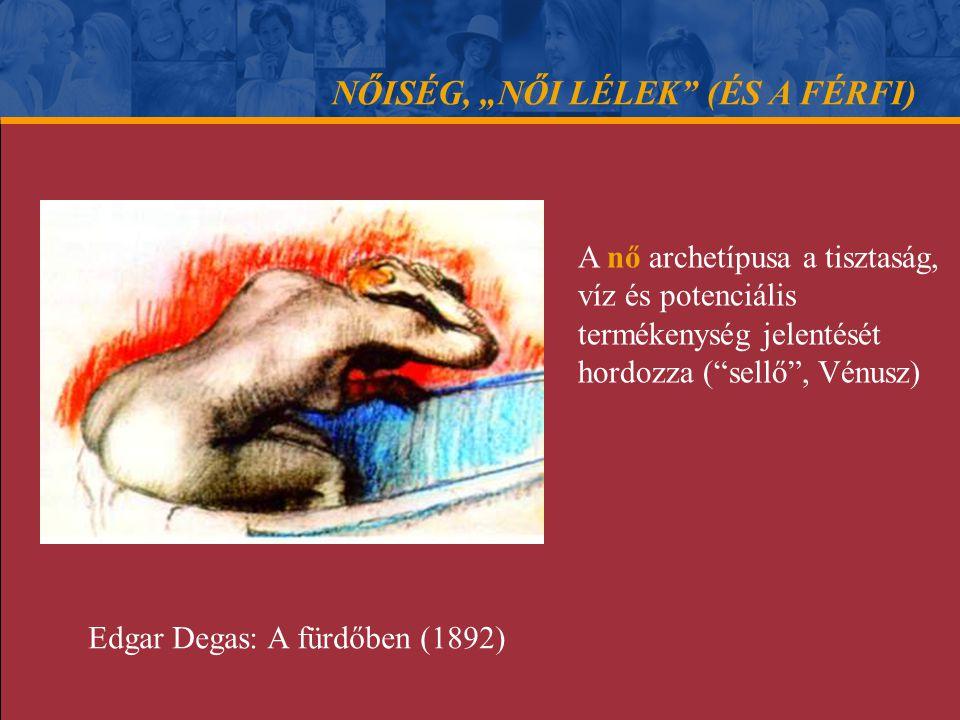 """NŐISÉG, """"NŐI LÉLEK"""" (ÉS A FÉRFI) A nő archetípusa a tisztaság, víz és potenciális termékenység jelentését hordozza (""""sellő"""", Vénusz) Edgar Degas: A fü"""