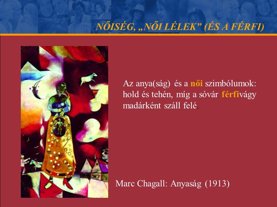 """NŐISÉG, """"NŐI LÉLEK"""" (ÉS A FÉRFI) Az anya(ság) és a női szimbólumok: hold és tehén, míg a sóvár férfivágy madárként száll felé. Marc Chagall: Anyaság ("""