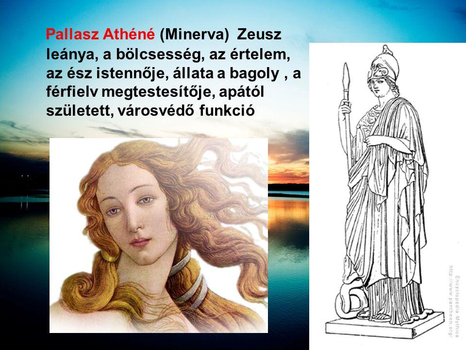 Pallasz Athéné (Minerva) Zeusz leánya, a bölcsesség, az értelem, az ész istennője, állata a bagoly, a férfielv megtestesítője, apától született, város