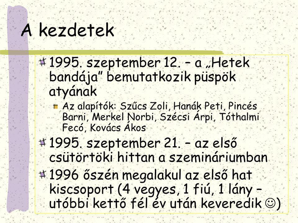 CsCs első hét tagja: Árpi, Ákos, Peti, Barni, Fecó, Zoli és Norbi - nem szokásos utcai viseletben; egy pantomim után (Kmét, 95.