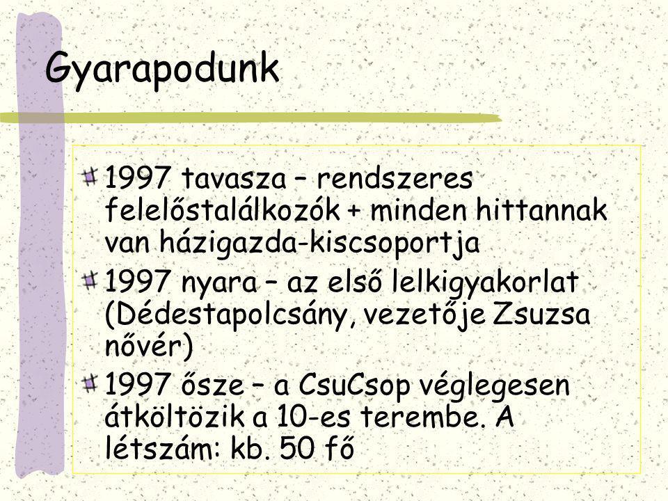 Ha egy üzlet beindul… 1998.február – az első farsang a budaörsi koliban 1998.