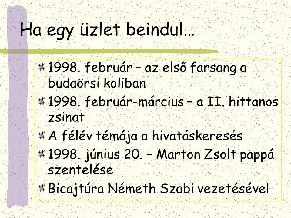 Esküvők, túrák… 1998.október – az első hittanos esküvő: Szöllőssy Orsi és Balázs 1999.