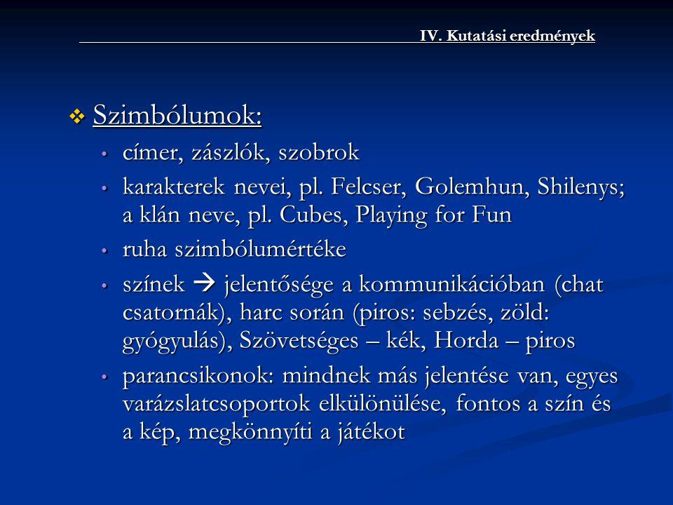 IV. Kutatási eredmények IV. Kutatási eredmények  Szimbólumok: • címer, zászlók, szobrok • karakterek nevei, pl. Felcser, Golemhun, Shilenys; a klán n