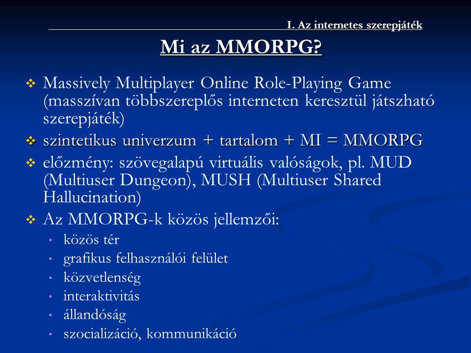 I. Az internetes szerepjáték I. Az internetes szerepjáték Mi az MMORPG?   Massively Multiplayer Online Role-Playing Game (masszívan többszereplős in