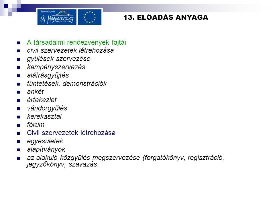 13. ELŐADÁS ANYAGA  A társadalmi rendezvények fajtái  civil szervezetek létrehozása  gyűlések szervezése  kampányszervezés  aláírásgyűjtés  tünt