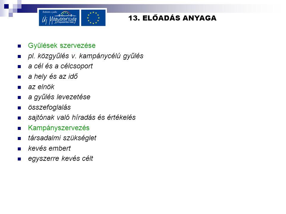 13.ELŐADÁS ANYAGA  Gyűlések szervezése  pl. közgyűlés v.