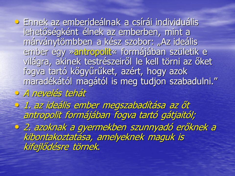 """• Ennek az emberideálnak a csírái individuális lehetőségként élnek az emberben, mint a márványtömbben a kész szobor: """"Az ideális ember egy »antropolit"""