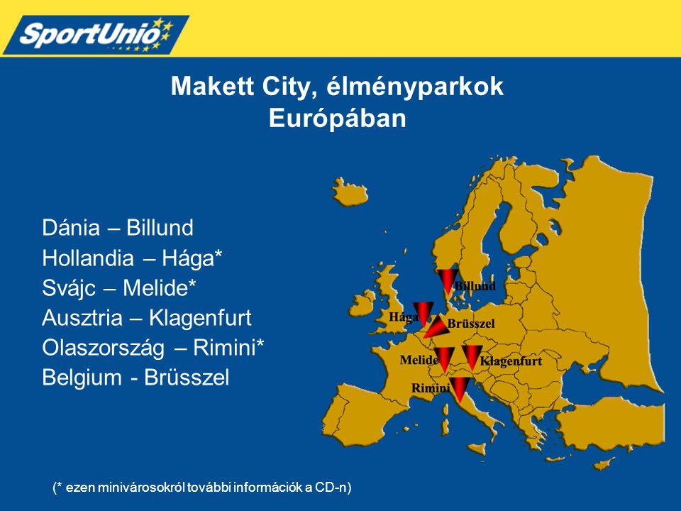 Makett City, élményparkok Európában Dánia – Billund Hollandia – Hága* Svájc – Melide* Ausztria – Klagenfurt Olaszország – Rimini* Belgium - Brüsszel (