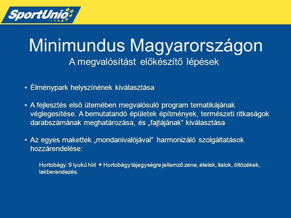 Minimundus Magyarországon A megvalósítást előkészítő lépések •Élménypark helyszínének kiválasztása •A fejlesztés első ütemében megvalósuló program tem