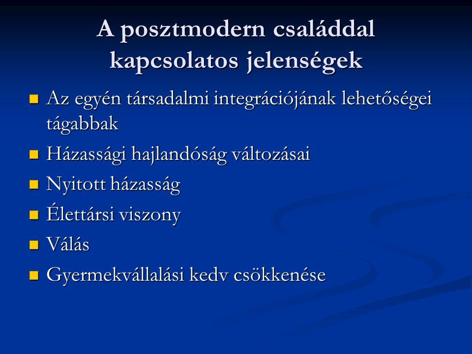 A család típusai  Szerkezete alapján:  Nukleáris – nagy – egyszülős/töredék család  Felek társadalmi státusza alapján:  Azonos – eltérő  Házasságkötés szerint:  Monogám – poligám - poliandrén