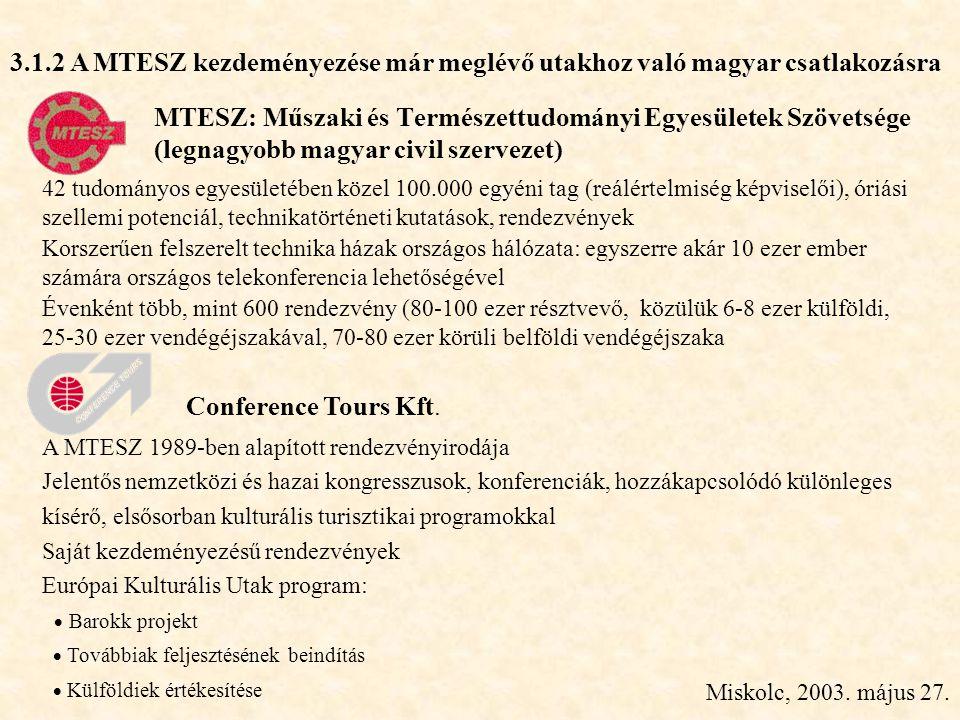 Miskolc, 2003. május 27. MTESZ: Műszaki és Természettudományi Egyesületek Szövetsége (legnagyobb magyar civil szervezet) 42 tudományos egyesületében k