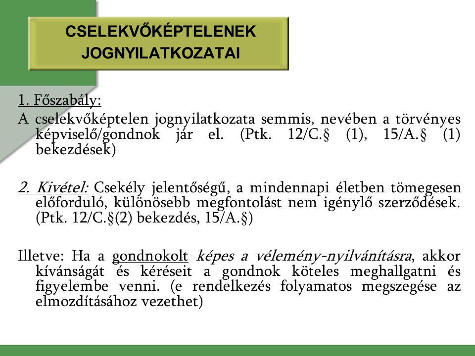 CSELEKVŐKÉPTELENEK JOGNYILATKOZATAI 1. Főszabály: A cselekvőképtelen jognyilatkozata semmis, nevében a törvényes képviselő/gondnok jár el. (Ptk. 12/C.