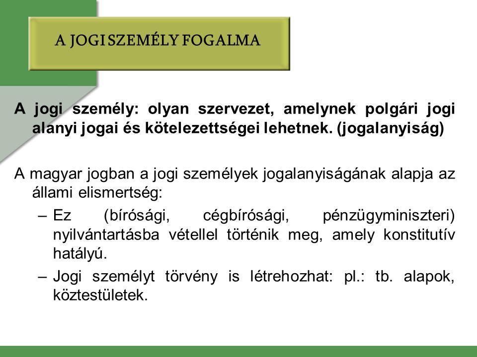 A jogi személy: olyan szervezet, amelynek polgári jogi alanyi jogai és kötelezettségei lehetnek. (jogalanyiság) A magyar jogban a jogi személyek jogal