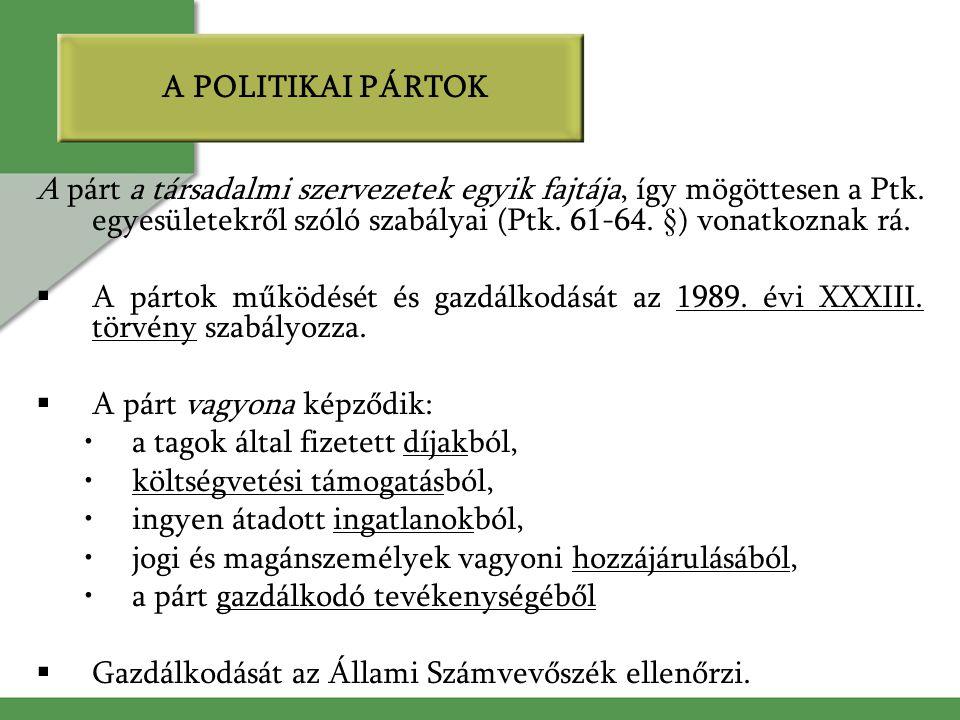 A POLITIKAI PÁRTOK A párt a társadalmi szervezetek egyik fajtája, így mögöttesen a Ptk. egyesületekről szóló szabályai (Ptk. 61-64. §) vonatkoznak rá.